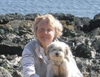 Dialogue editor Janet with Penny at the beach, Neck Point Park, Nanaimo